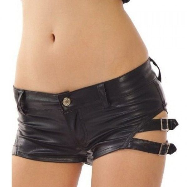 Punk Style PU Leather Buckle Decoration Women's Dancing Shorts ($16) ❤ liked on Polyvore featuring shorts, punk shorts, punk rock shorts and embellished shorts