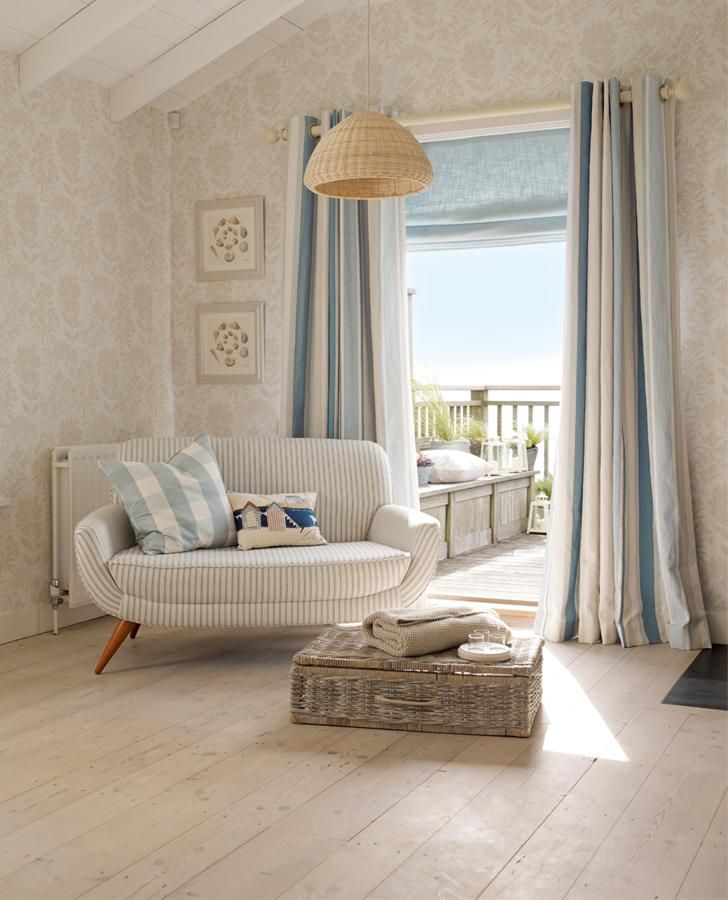 Awning Stripe Seaspray Ready Made Curtains With Images Coastal