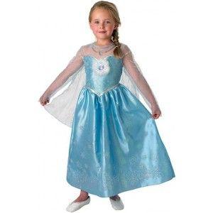 Déguisement Elsa la reine des neiges Disney Frozen deluxe enfant avec cape flocon des neiges.
