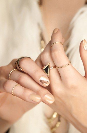 gold manicure nude nails gold nails manicures manicure ideas nail ...