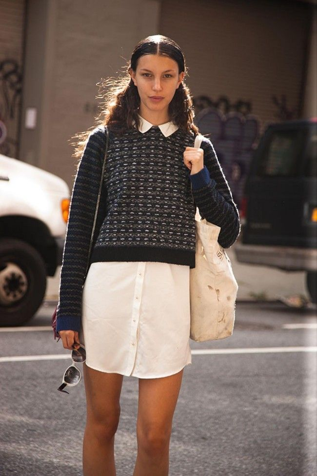 Sweater over white shirt dress
