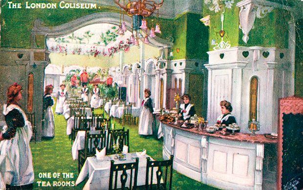 A 1905 illustration of the art noveau tea rooms at the london coliseum