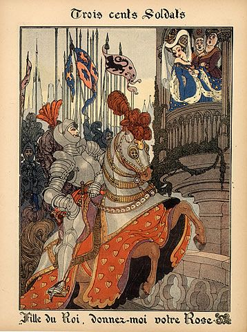 Gerda Wegener 1917 Songs of France, Trois Cents Soldats, Medieval Costumes, Armour, Horse