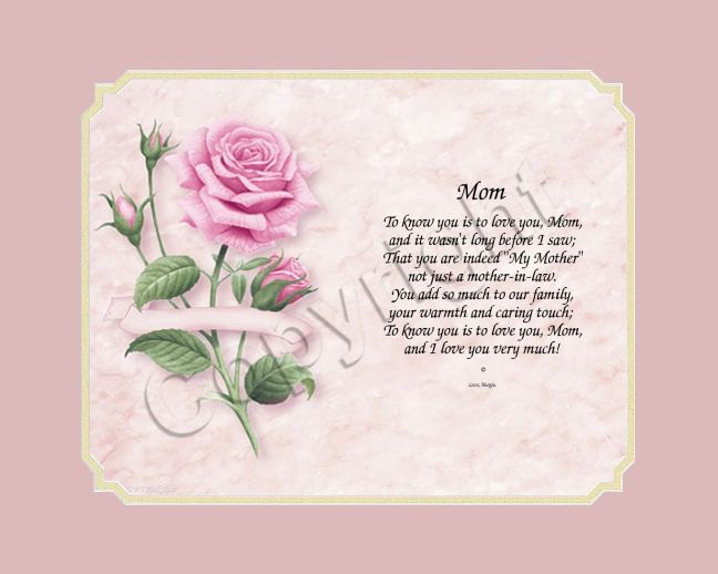 Good Gifts For Mothers In Law: Mother's Day Gift - Poem - Mother In Law