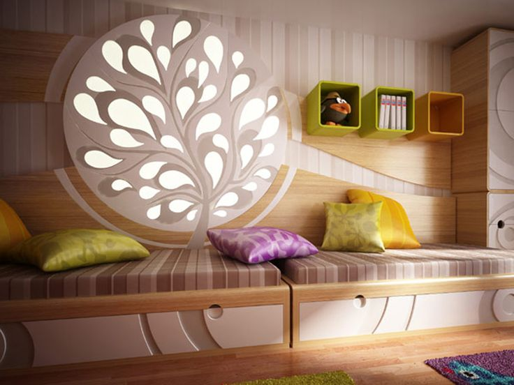 Modern bedroom ideas for young girls consist some small soft pillow with striped pattern and color games display fresh rooms, bright colors, soft carpet with pictures of cute animals inspiring happy feelings. The main of this room is  an interesting light decorative object with plant shape in over the beds. some furniture using Circle decoration combine with natural color and white. This gives an amazing ideas for a bedroom design, how about you..shared with us. -