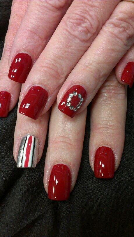 Ohio state buckeye nail art