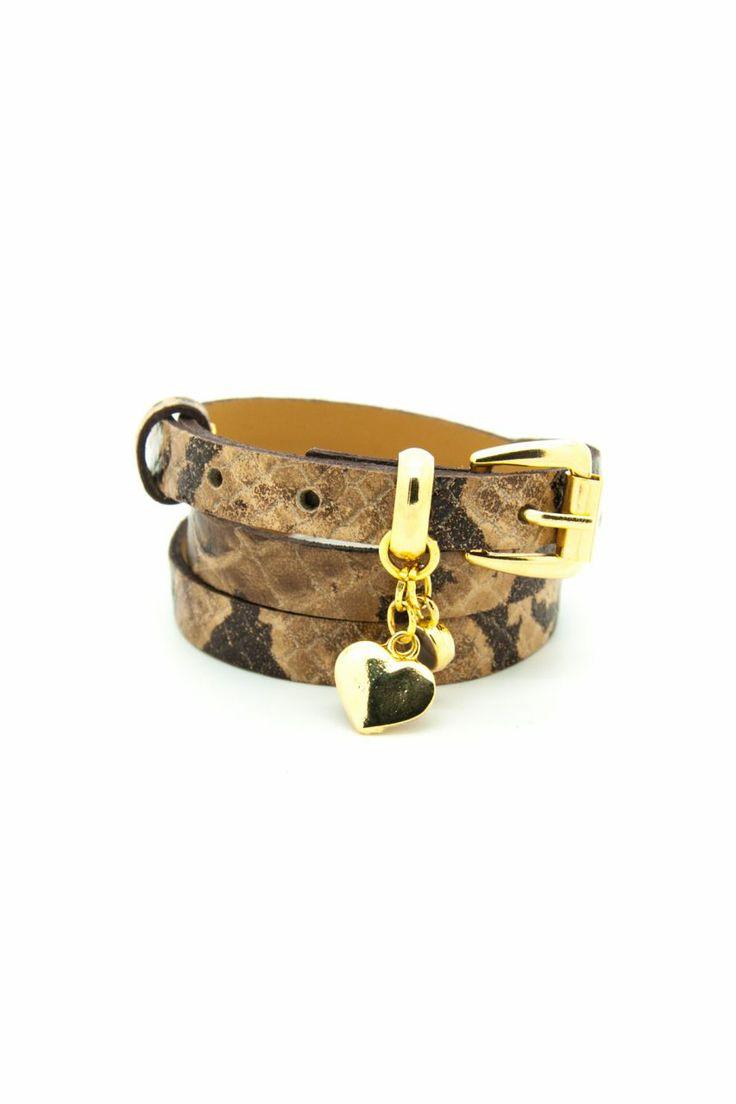 Kalpli Kahve Crocodile Desenli Deri Bileklik. Tasarım. Armparty. Leather bracelet.