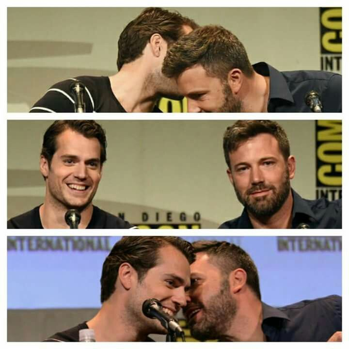 Ben Affleck and Henry cavill comic con 2015; =o_o= These two are adorable! I will go down with this ship~
