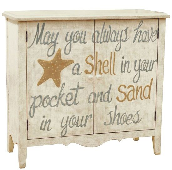 Beach Furniture. Dressers with Saying/Quote: http://beachblissliving.com/beach-art-on-furniture-painted-dresser-chest/