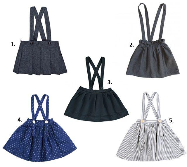 Girls skirts with suspenders, faldas para niñas con tirantes