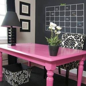 Home Office With Chalkboard Paint Wall Behind Pink Desk And Chair , Chalkboard Paint For Interior Walls In Home Design and Decor Category