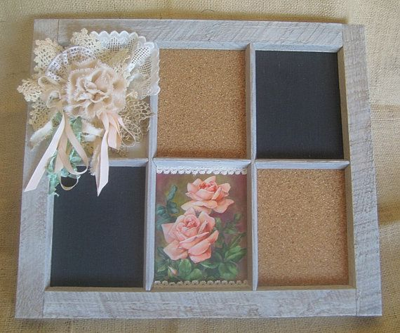 Cottage Shabby Chic Memo Board  Window Pane Frame, Cork/ Black Boards, Vintage Pink Roses Card, Lace, Doilies, Canvas Flower