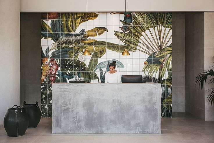 drawn from the motifs of nature, karina eibatova has created a large scale tile work for the restaurant and reception area of the casa cook hotel in greece.
