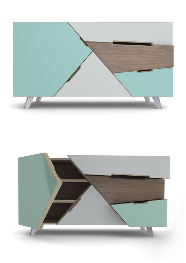 "50's inspired buffet, called the ""Tangram"" from French company, At Once"