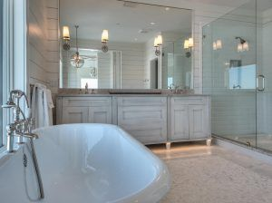Bathroom ideas. Bathroom reno. Bathroom reno ideas. Bathroom shiplap and tile combination ideas. Bathroom shiplap and tile combination. Bathroom features shiplap on walls and beveled subway tiles in shower. #bathroom #shiplap #tiles #bathroomIdeas #Bathroomrenoideas #bathroomreno