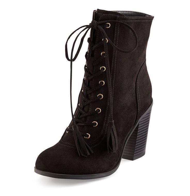 Ladies black laceup high heel tall boot