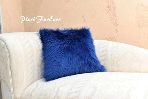 "Navy Blue Shaggy Cushion Pillow Faux Fur Home Decor Pillows 18"" x 18"" (Inserts…"