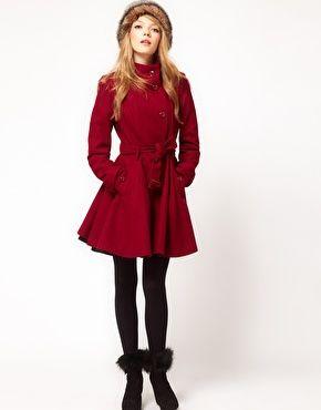 Bild 4 von ASOS PETITE – Ausgestellter Mantel mit Gürtel