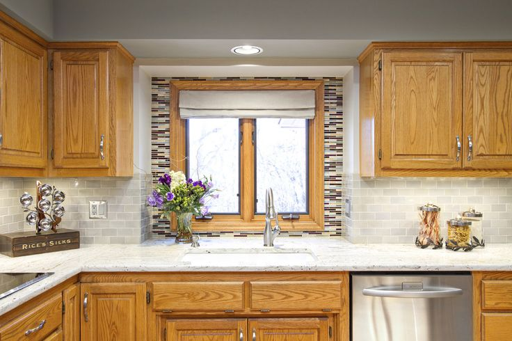 Oak kitchen update ideas with new backsplash and countertop by Alison Besikof Custom Designs