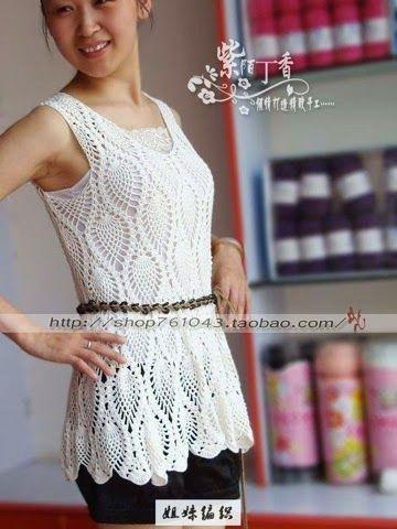 Crochet knitting : Free pattern dress ฟรีแพทเทิร์นเดรสโครเชต์ลายสับปะรด (แบบสั้น)