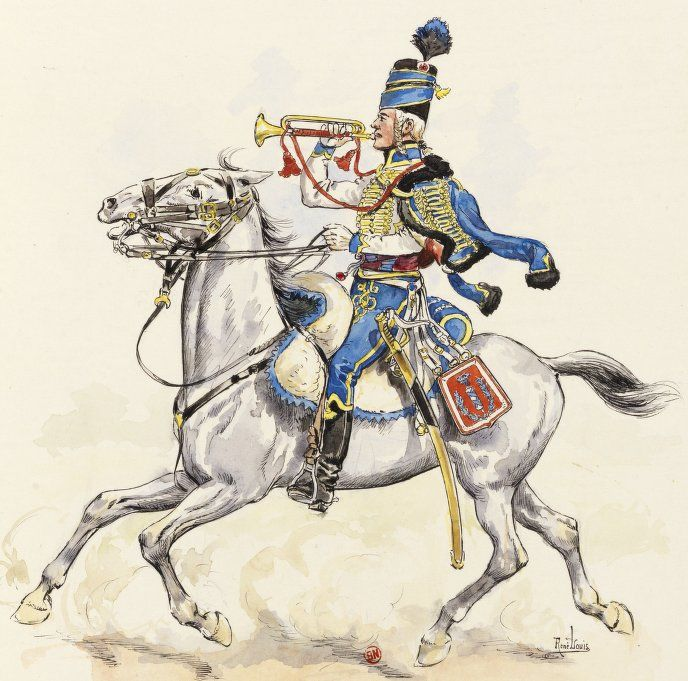 "Trompette du 5e Hussards (ex Lauzun) sous la 1ère République, d'après René Louis, ""Uniformes des régiments de hussards français.... I. - 1er-6e hussards""; Bibliothèque nationale de France, Collection de Ridder, Gustave (1861-1945)."