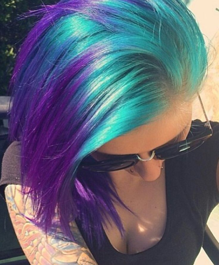 Purple and teal hair. Love these colors! Hoping of getting these colors on my tips. DREAM HAIR