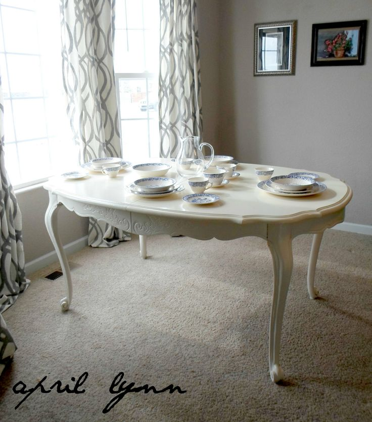 Painted White Dining Table french provincial