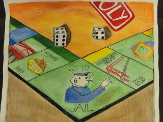 drawing board games to show learning of 1 and 2 point perspective