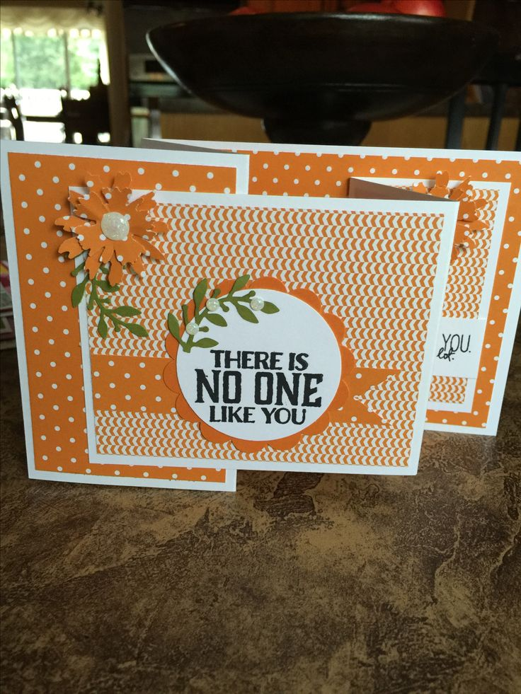 Stampin Up! Pumpkin Pie with Tim Holtz flower punch Double Z Fold card.