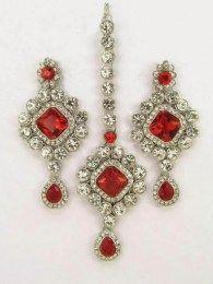 Gorgeous Red Stones In Maang Tika & Earrings Set