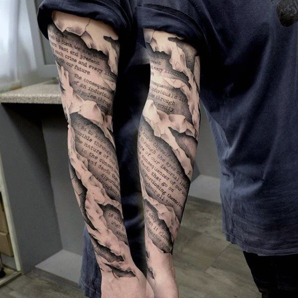 Torn Skin Mens 3d Quote Scroll Unique Sleeve Tattoo                                                                                                                                                                                 More