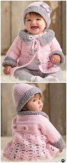Crochet Modern Baby Sweater Cardigan Pattern- Crochet Kid's Sweater Coat Free Patter