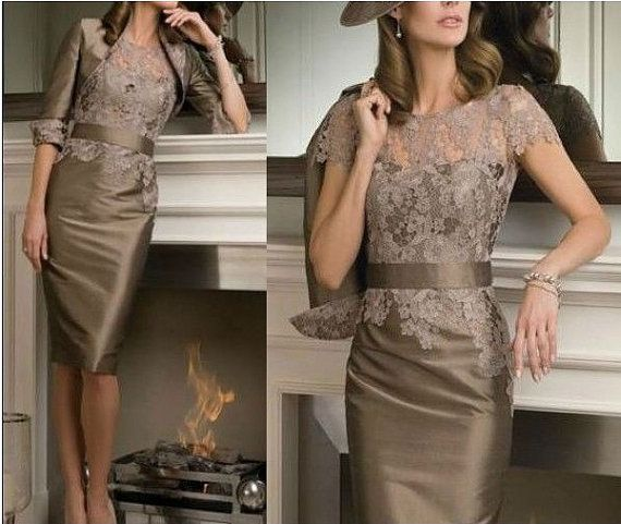 2014 New Free Bolero Sexy Knee length Short Sleeve Cocktail Mother of the Bride Dresses Special Occasion Dresses
