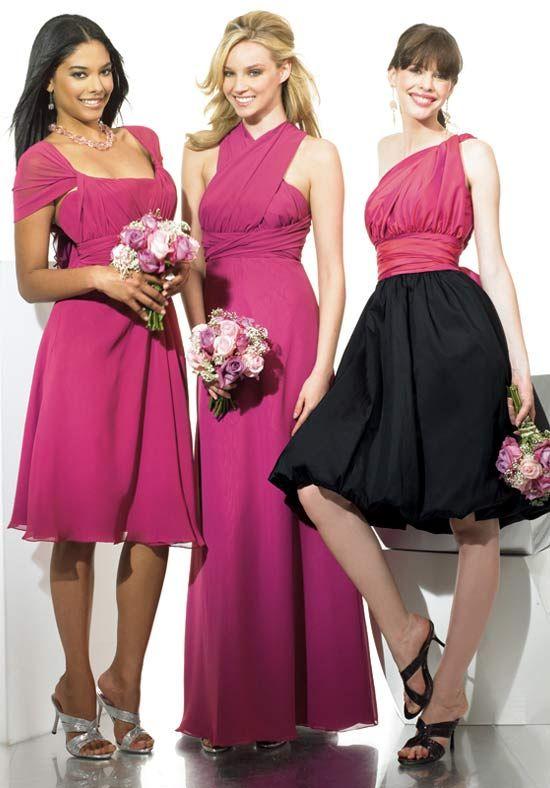 Leftt & Center Poly Chiffon / Right: Taffeta #Bridesmaid Dress Style MT9026/VS9028/ VS9035