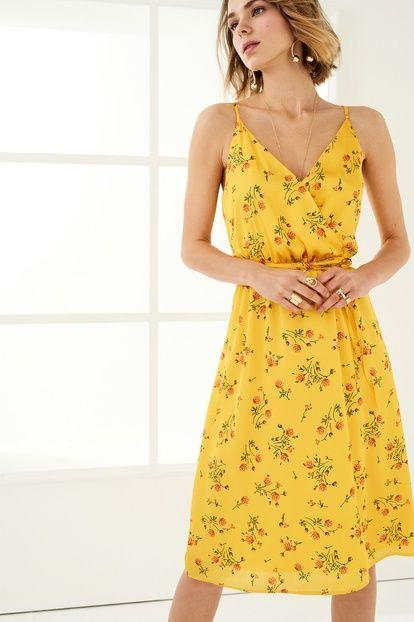 Sarı Kruvaze Kapama Elbise