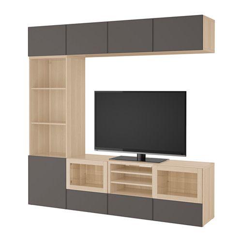BESTÅ TV úložná sestava se skl. dvířky IKEA Zásuvky a dvířka se dovírají tiše a jemně díky vestavěné funkci jemného dovírání.