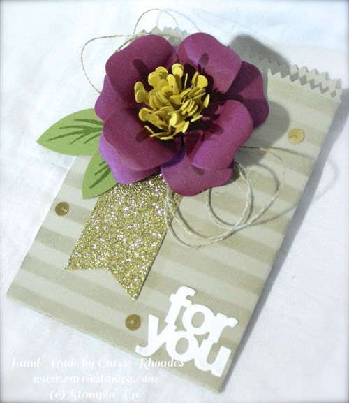 Mini Treat Bag with a flower die cut with the Bouquet Bigz Die both from the Occasions Catalog 2015. www.carriestamps.com