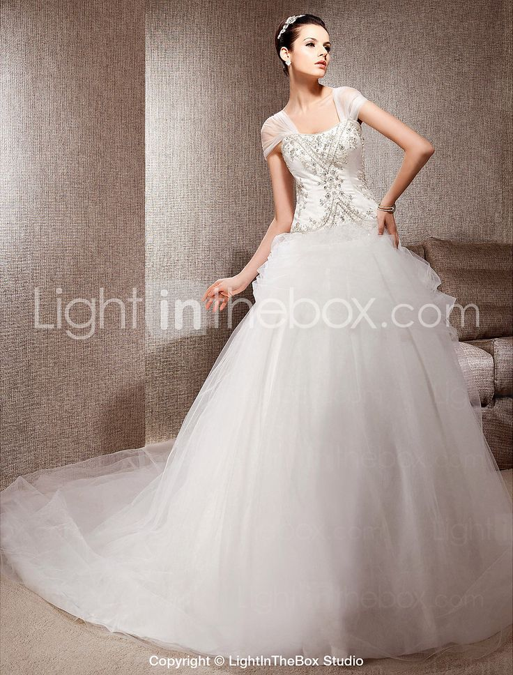 LINDSAY - Vestido de Noiva em Cetim e Tule. Tipo de mangas: boné
