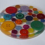 Large Button Round Coaster - £8.00