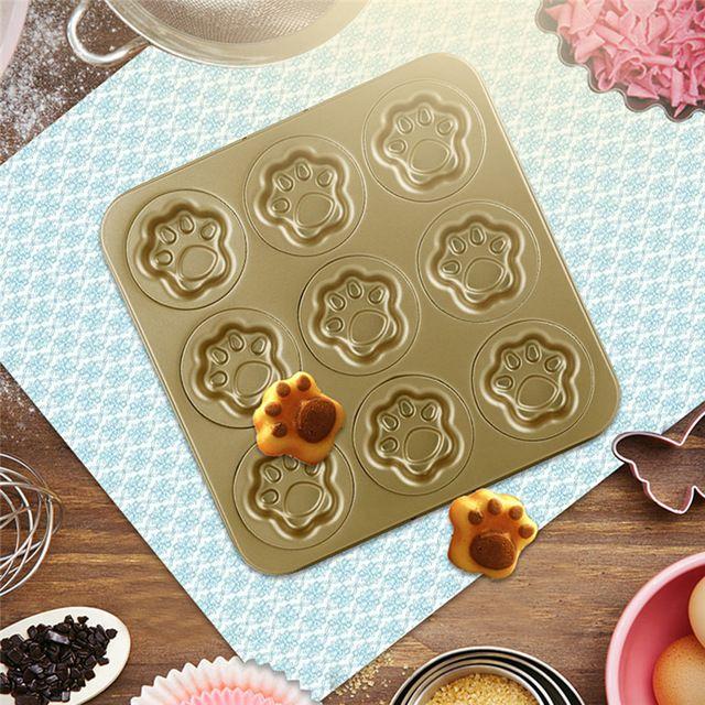 9 чашки (чашек) антипригарной маффин кекса десертную форма для кошки лапой из углеродистой стали для выпечки десертную кухонная техника нью-формы кулинария