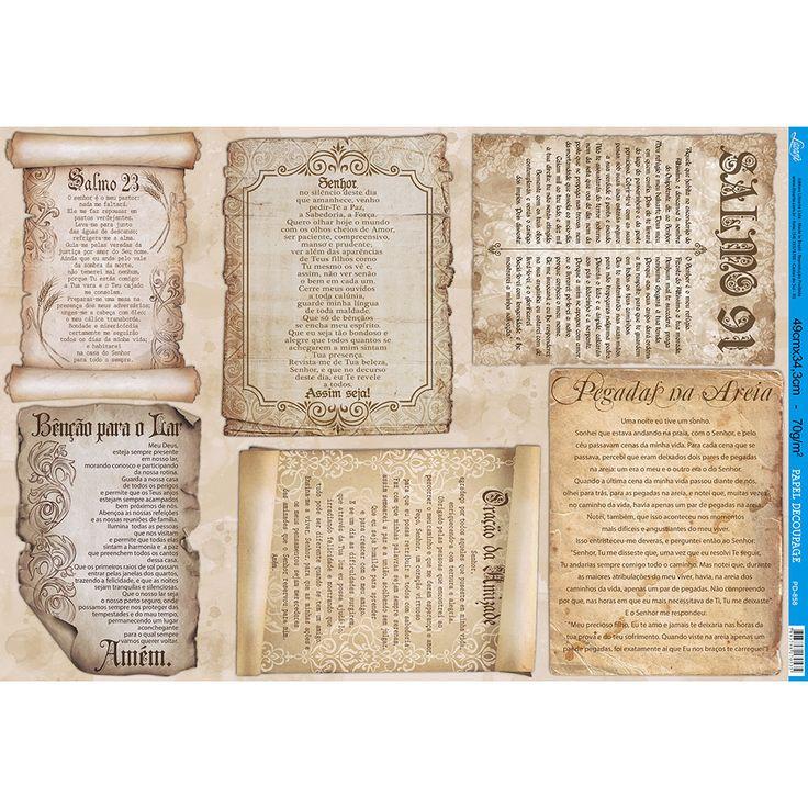 Papel para Decoupage Litoarte 49 x 34,3 cm - Modelo PD-858 Pergaminhos - Orações e Salmos - CasaDaArte