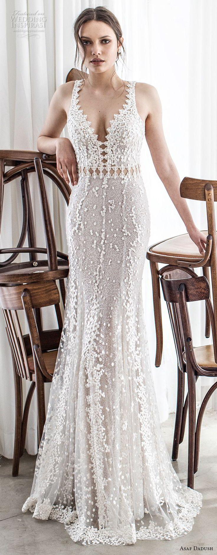 asaf dadush 2017 bridal sleeveless embroidered strap v neck full embellishment elegant glamorous fit and flare sheath wedding dress open back sweep train (01) lv