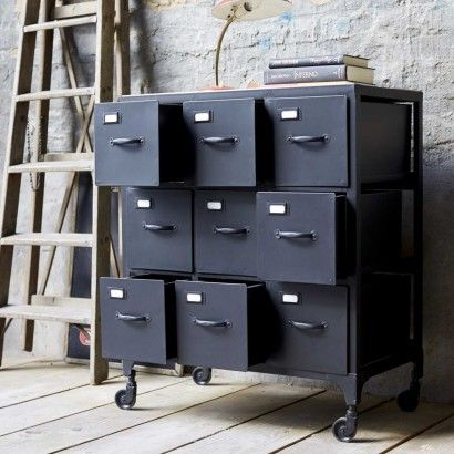 Kommode aus Metall – Verkauf von Kommodes 9 Schubladen industrieller Stil - Tikamoon