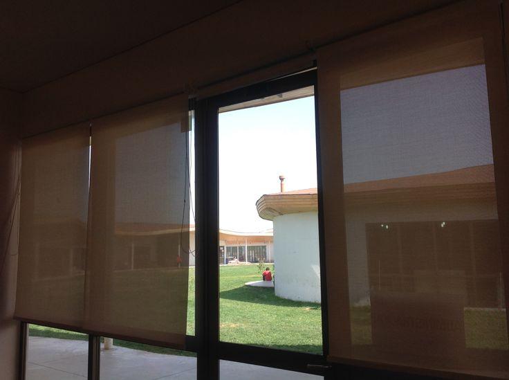 Cortina Roller Sunscreen. Oficina Colegio.
