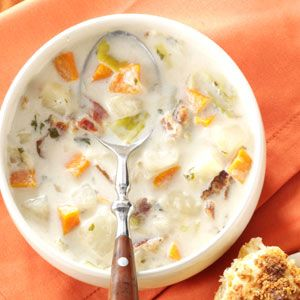 Potato and Leek Soup Recipe from Taste of Home -- shared by Melanie Wooden of Reno, Nevada
