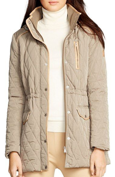 Lauren Ralph Lauren Hooded Quilted Drawstring Waist Jacket available at #Nordstrom