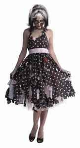 Woman's Zombie Housewife Costume. The Zombie wife costume is a very popular choice for women who watch the show The Walking Dead. If you are looking for a Zombie costume for Halloween, there is none better than this polka dot Zombie wife costume. You