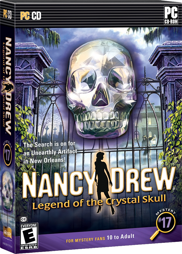 Nancy Drew: Legend of the Crystal Skull computer game. The Search in on for an Unearthly Artifact in New Orleans! http://www.herinteractive.com/Mystery_Games/Nancy_Drew/Legend_of_the_Crystal_Skull/pc