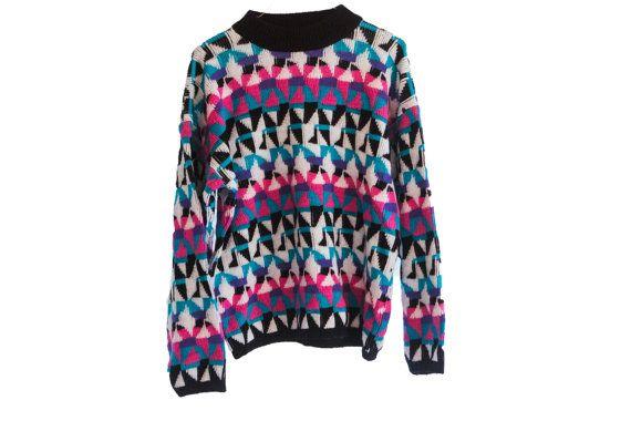 Salvato dal Bell 80s Cosby Bright stampa Hipster maglione