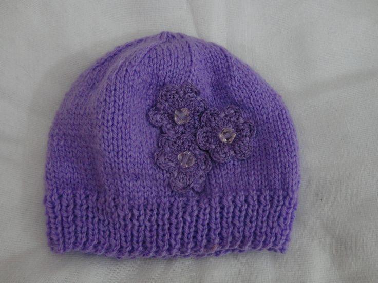 Gorro 3 Flores. De lã.